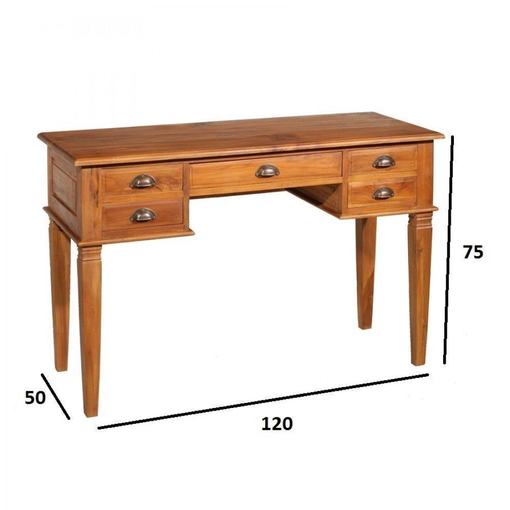 Bureaux meubles et rangements bureau api 5 tiroirs indon sien en teck style - Bureau style colonial ...