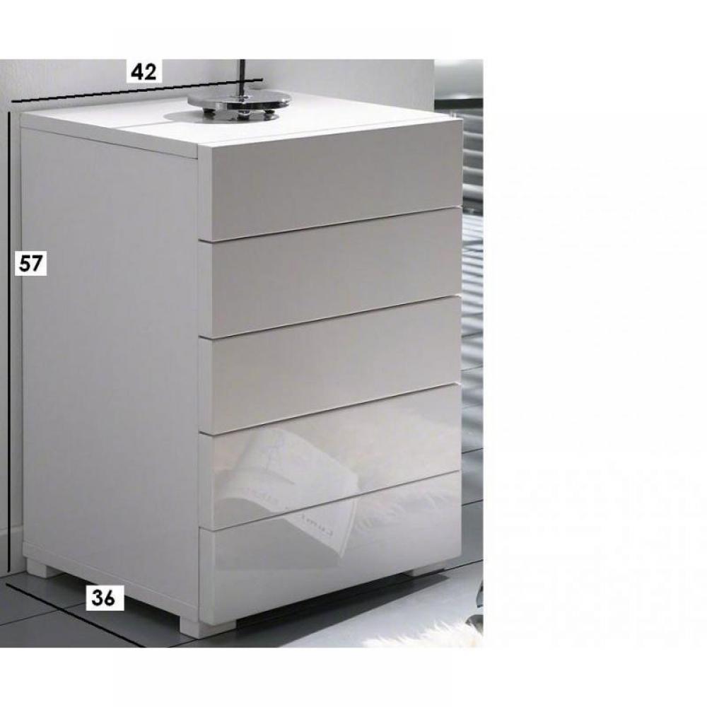 Commodes meubles et rangements commode laqu e blanche design 5 tiroirs in - Table de chevet blanc laque design ...