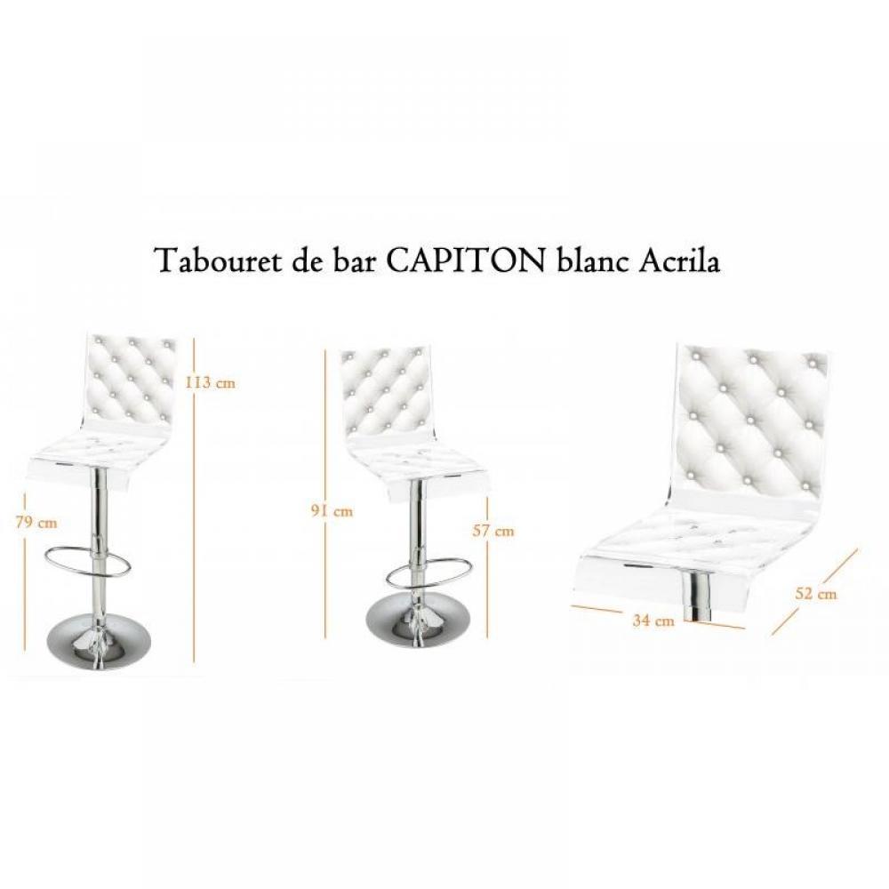 tabourets de bar tables et chaises tabouret chaise de bar acrila plexiglass capiton blanc. Black Bedroom Furniture Sets. Home Design Ideas