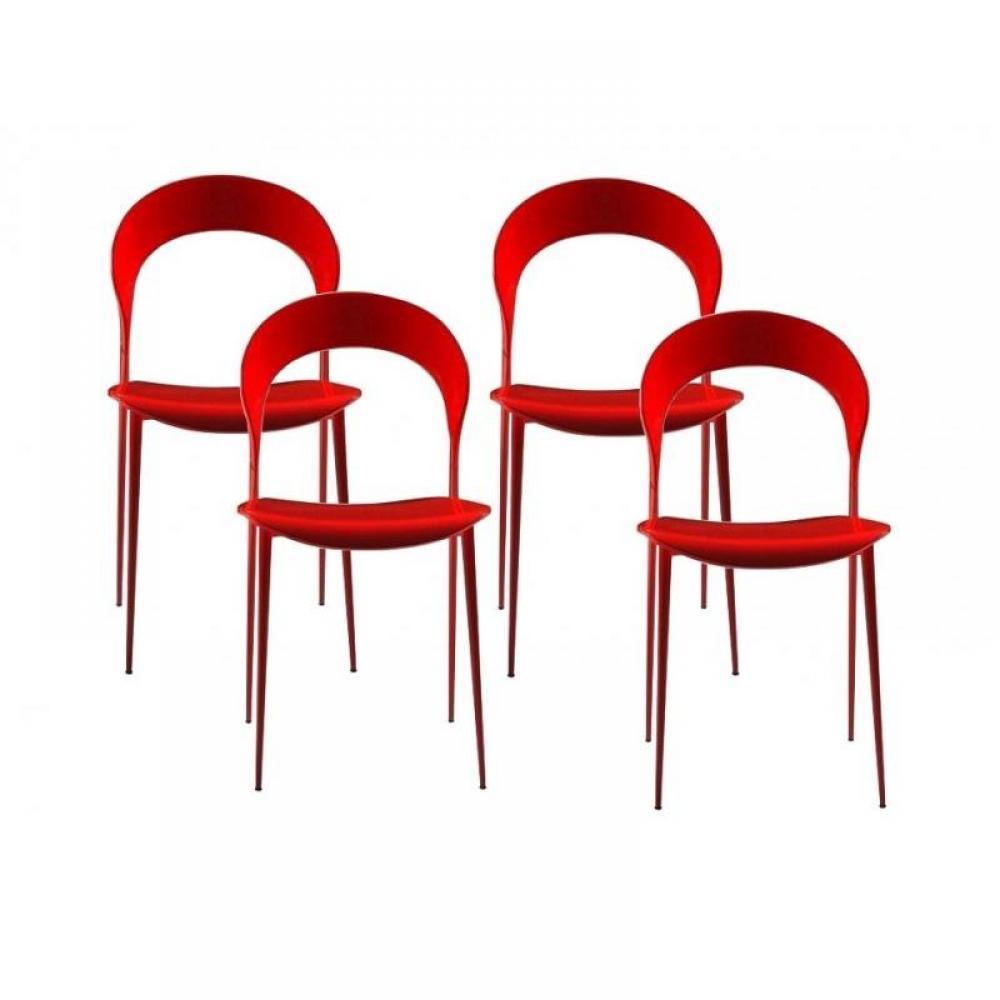 chaises tables et chaises lot de 4 chaises design arcadia rouges inside75. Black Bedroom Furniture Sets. Home Design Ideas
