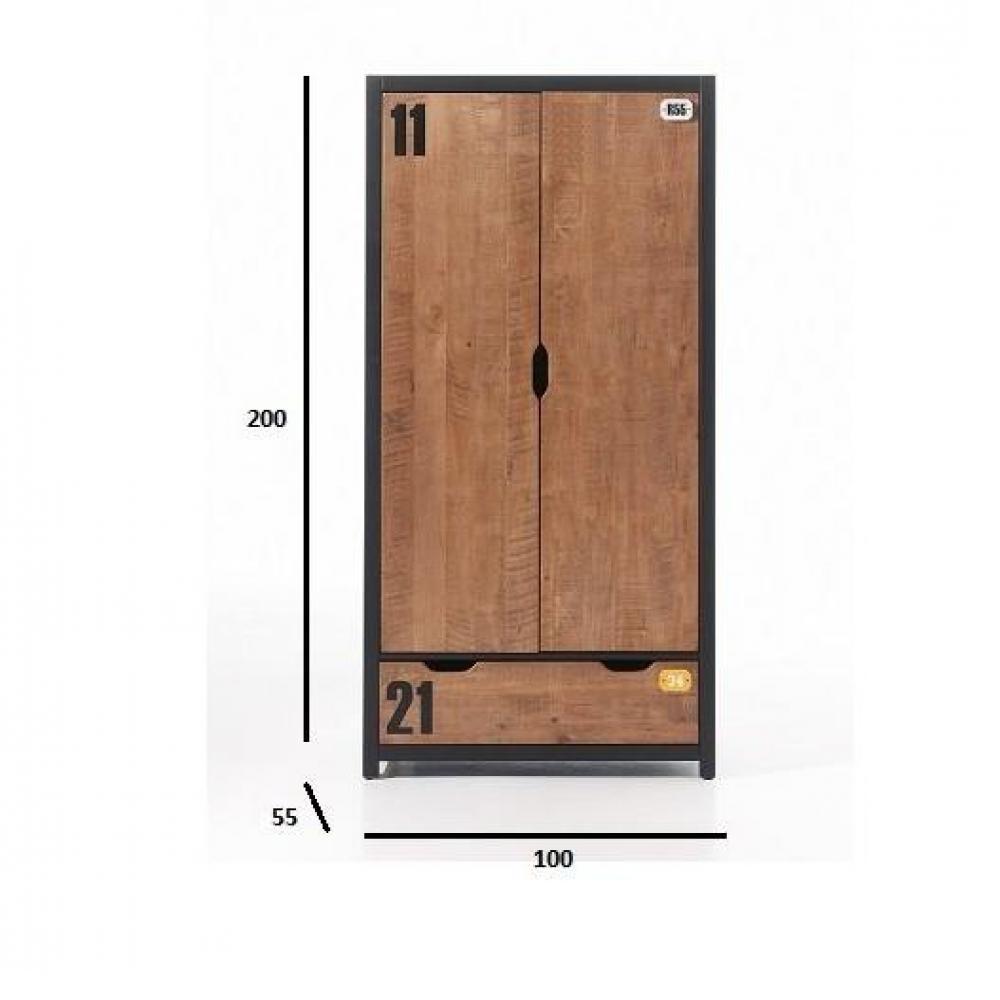 dressings et armoires meubles et rangements armoire alex de style industriel avec 2 portes et. Black Bedroom Furniture Sets. Home Design Ideas