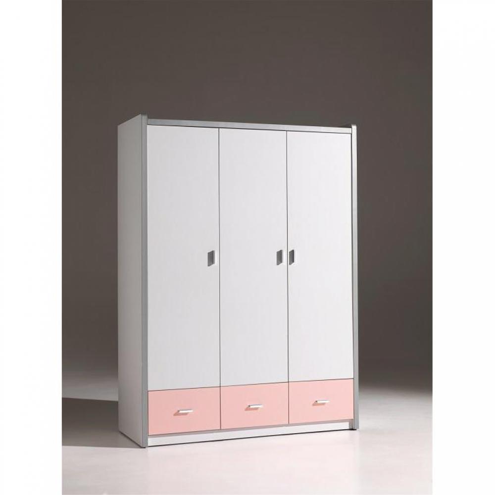 dressings et armoires chambre literie armoire dressing bonny 3 portes blanche et 3 tiroirs. Black Bedroom Furniture Sets. Home Design Ideas