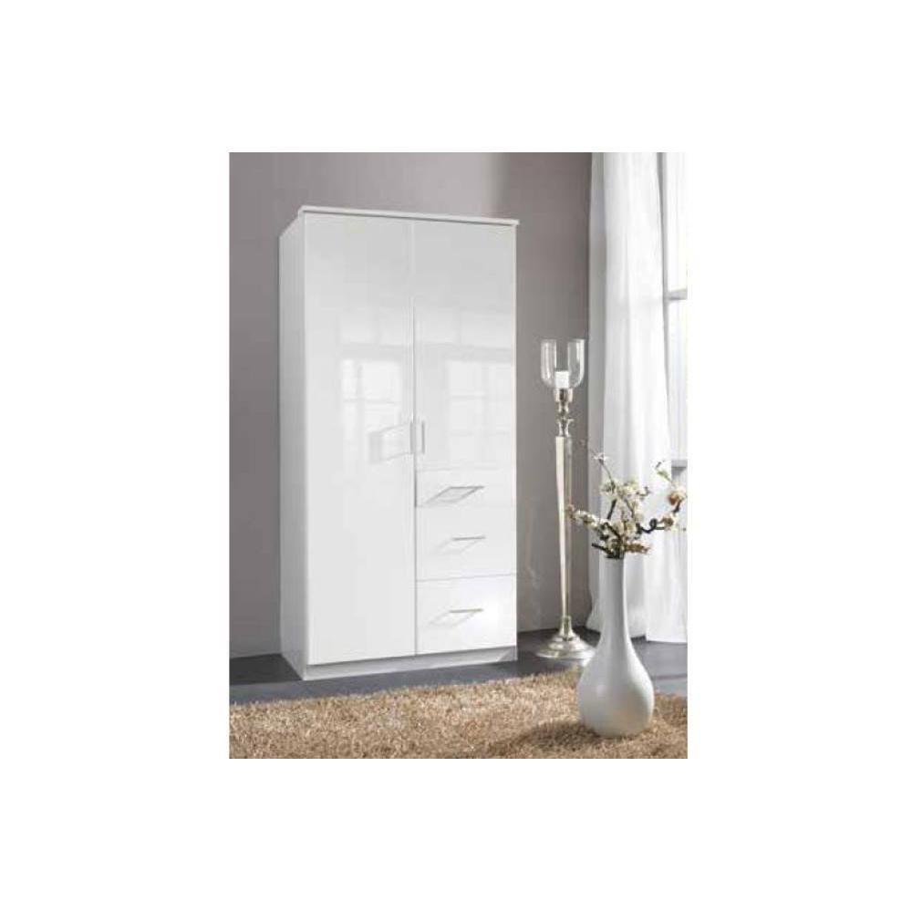 dressings et armoires chambre literie armoire penderie cooper blanche avec 2 portes. Black Bedroom Furniture Sets. Home Design Ideas