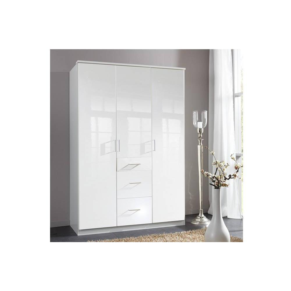 dressings et armoires meubles et rangements armoire penderie cooper blanche avec 3 portes. Black Bedroom Furniture Sets. Home Design Ideas