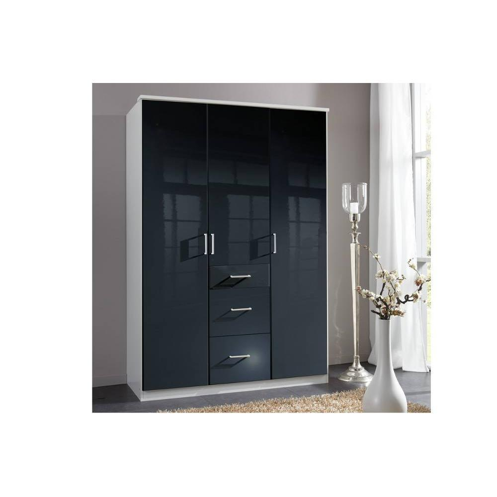 dressings et armoires meubles et rangements armoire penderie cooper noire avec 3 portes. Black Bedroom Furniture Sets. Home Design Ideas