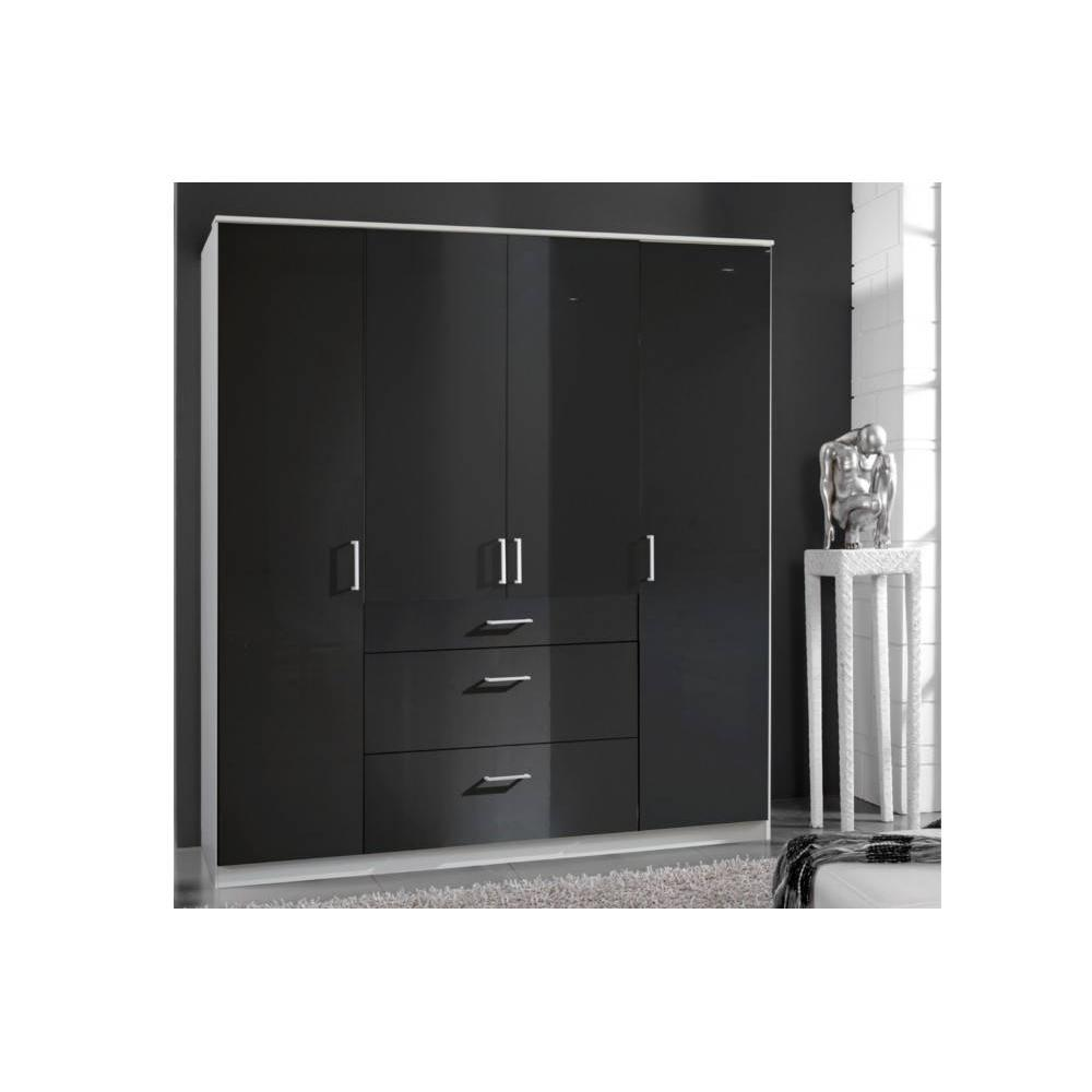 dressings et armoires chambre literie armoire penderie cooper noire avec 4 portes battantes. Black Bedroom Furniture Sets. Home Design Ideas