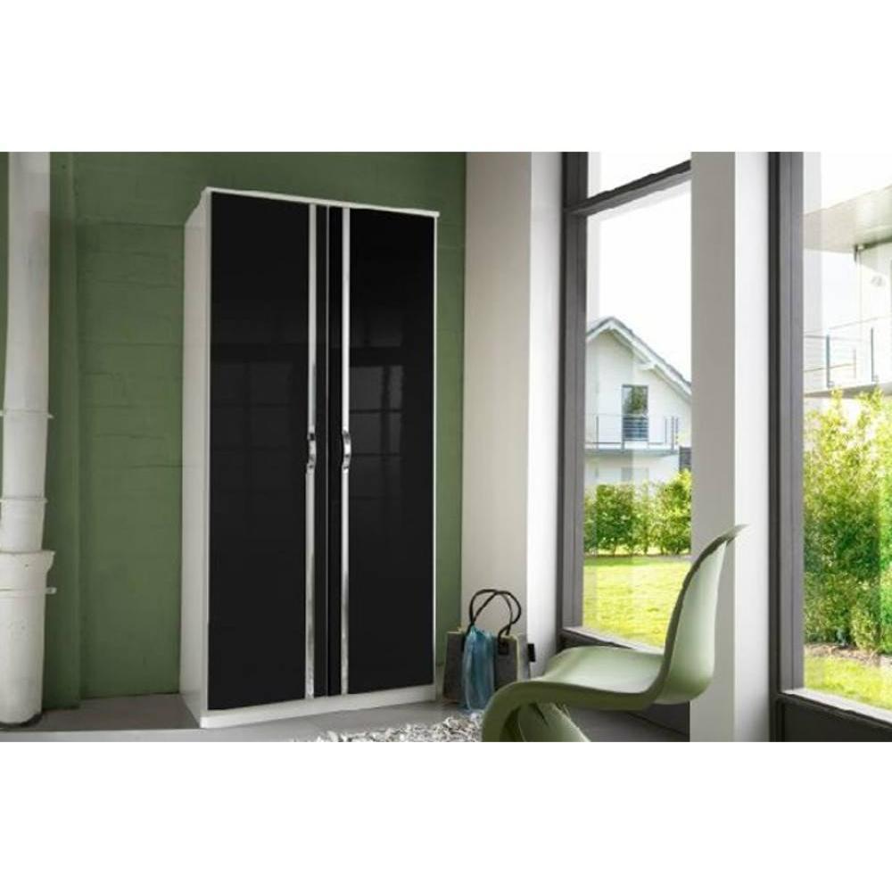 Dressings et armoires meubles et rangements armoire penderie kroos blanche - Armoire 2 portes noire ...