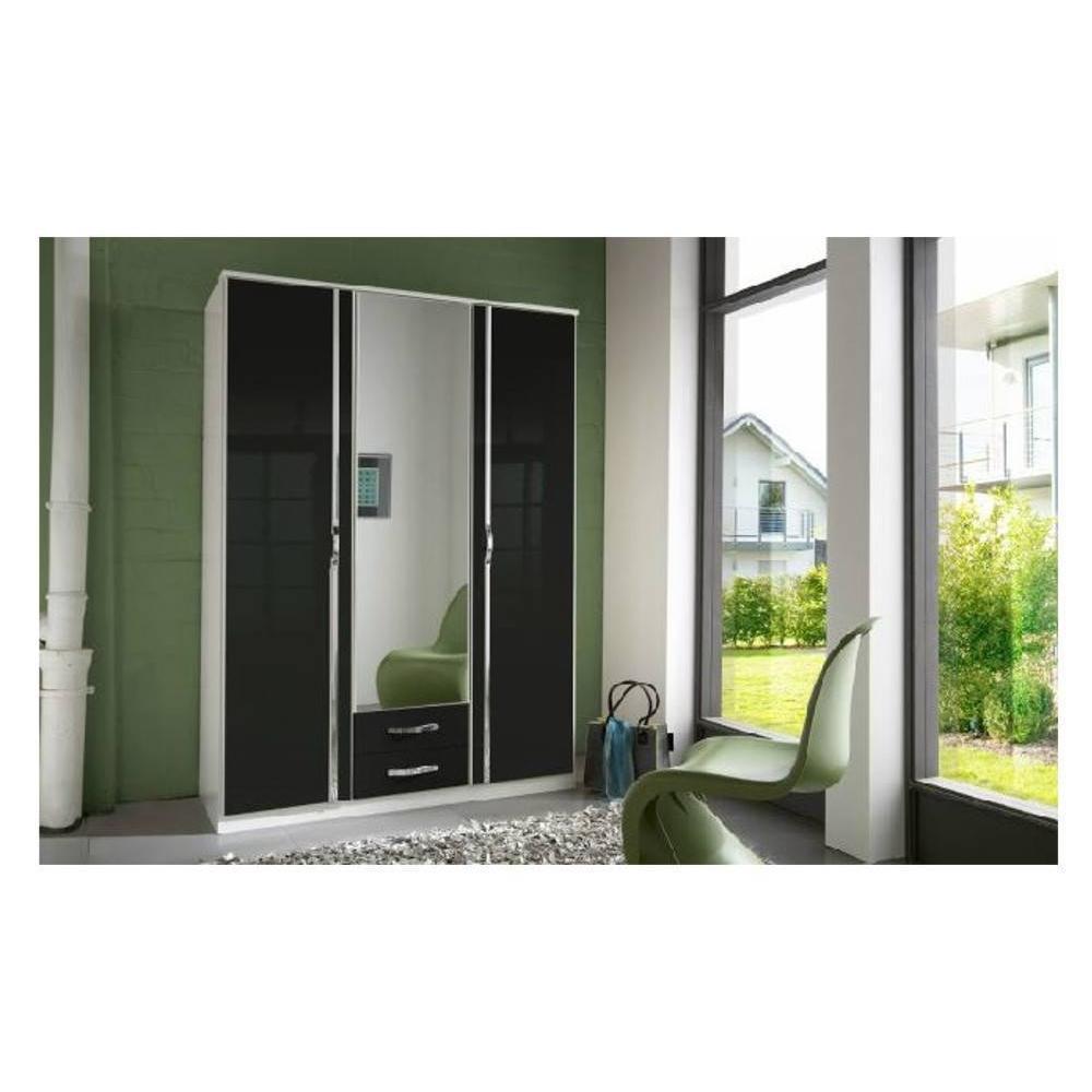 dressings et armoires meubles et rangements armoire penderie kroos noire avec miroirs 3 portes. Black Bedroom Furniture Sets. Home Design Ideas