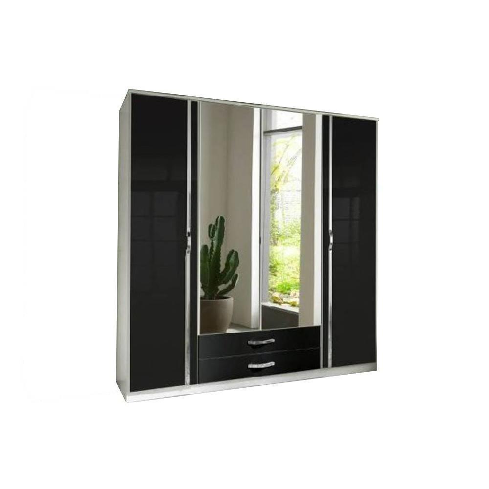 dressings et armoires meubles et rangements armoire penderie kroos blanche avec miroirs 4. Black Bedroom Furniture Sets. Home Design Ideas