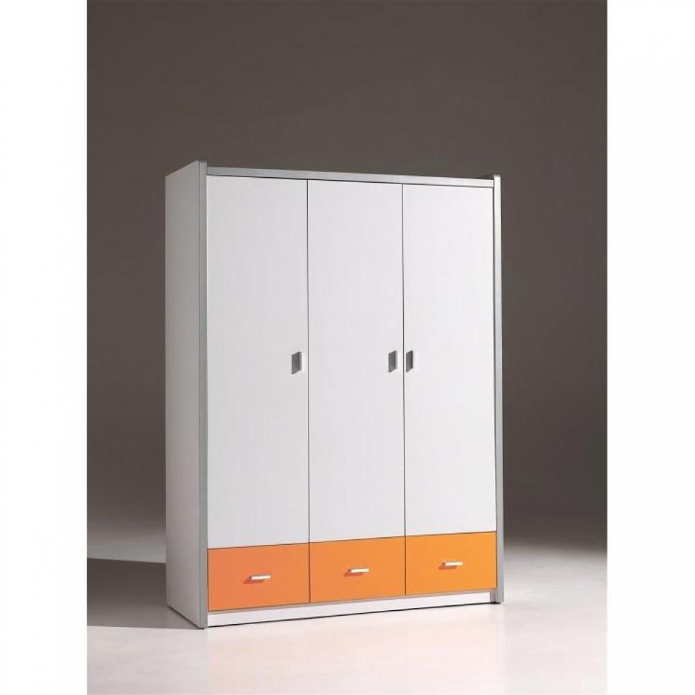 dressings et armoires chambre literie armoire dressing kyle 3 portes blanche et 3 tiroirs. Black Bedroom Furniture Sets. Home Design Ideas