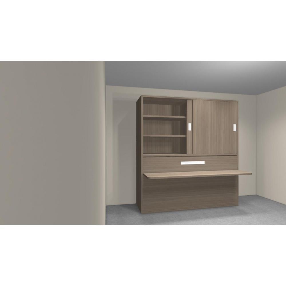 Armoire lit transversale armoires lits escamotables for Lit escamotable bureau integre