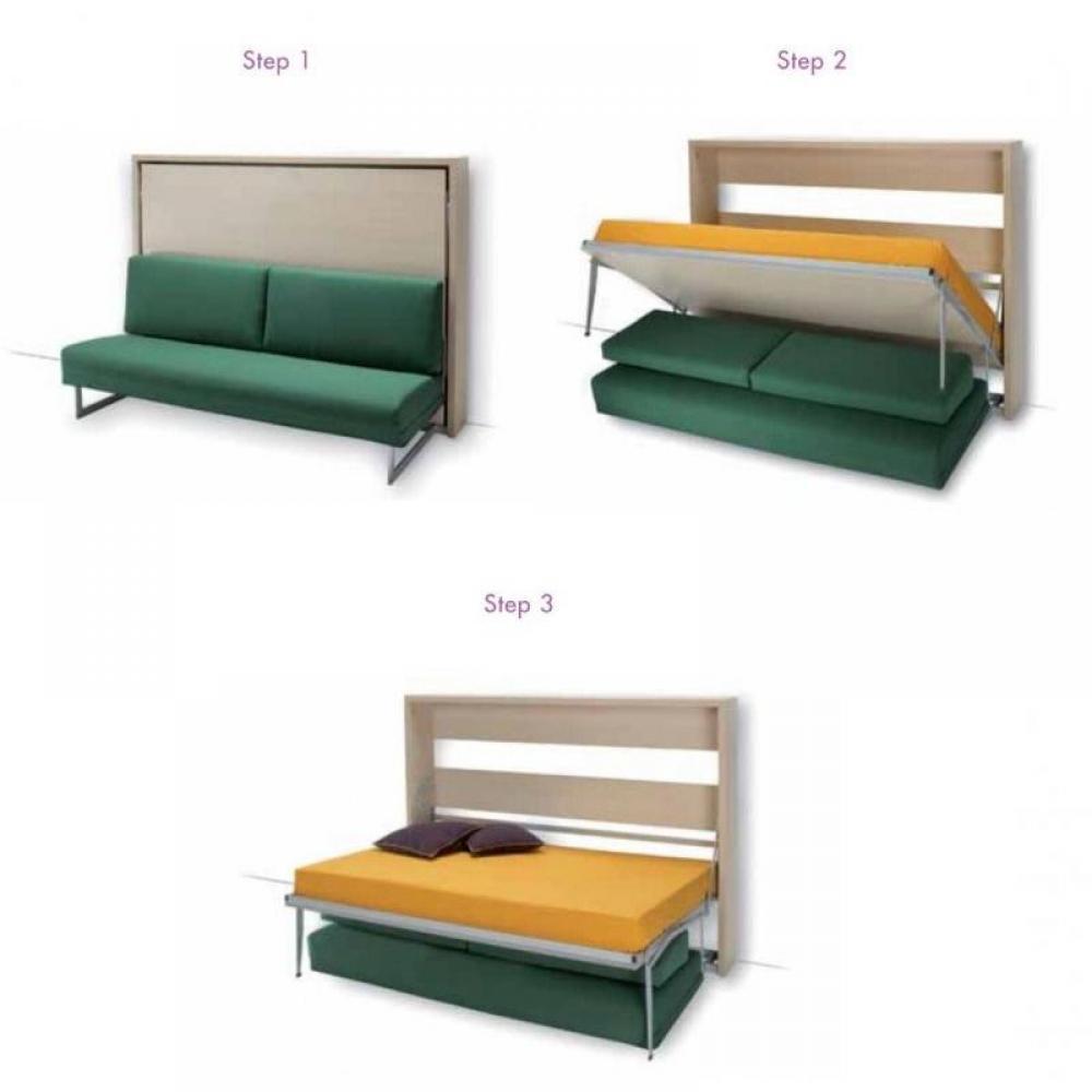 Armoire lit canap armoires lits escamotables armoire lit transversale magi - Structure lit escamotable ...