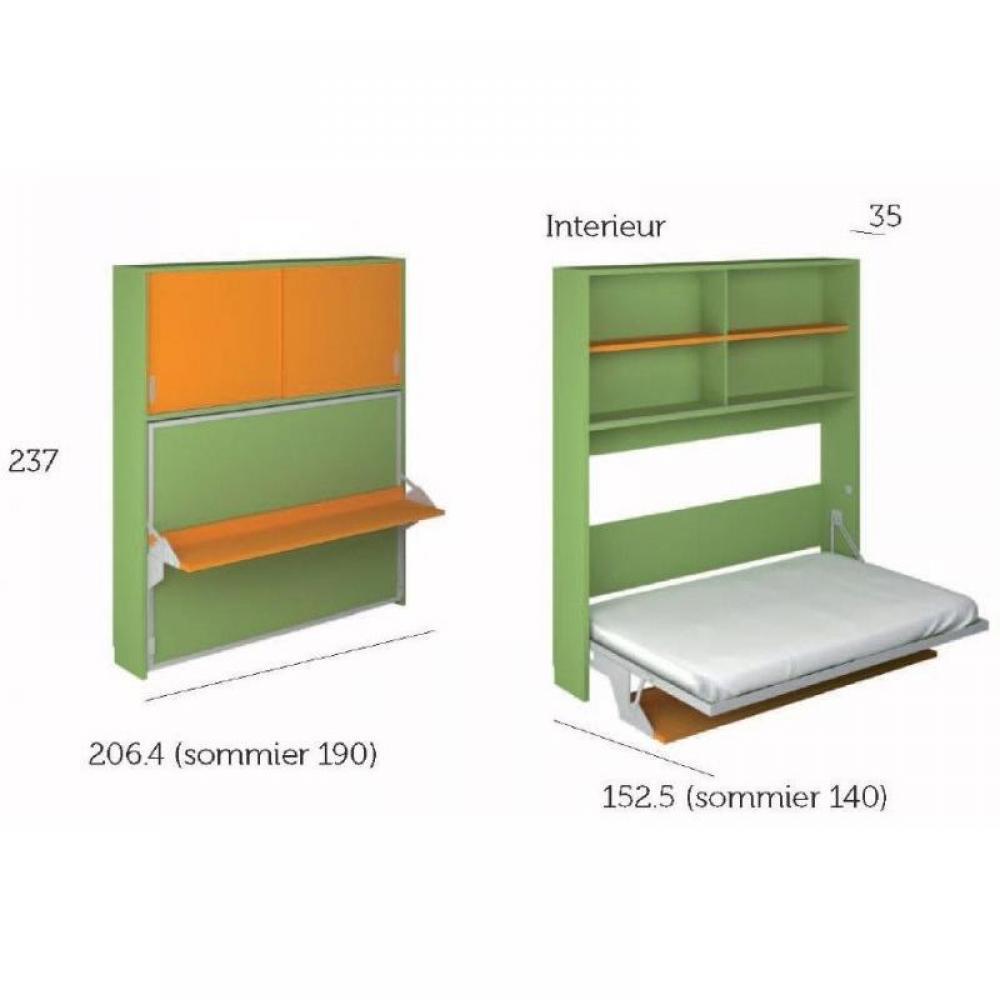 Armoire lit bureau armoires lits escamotables armoire lit transversale hades avec portes - Porte coulissante 140 cm ...