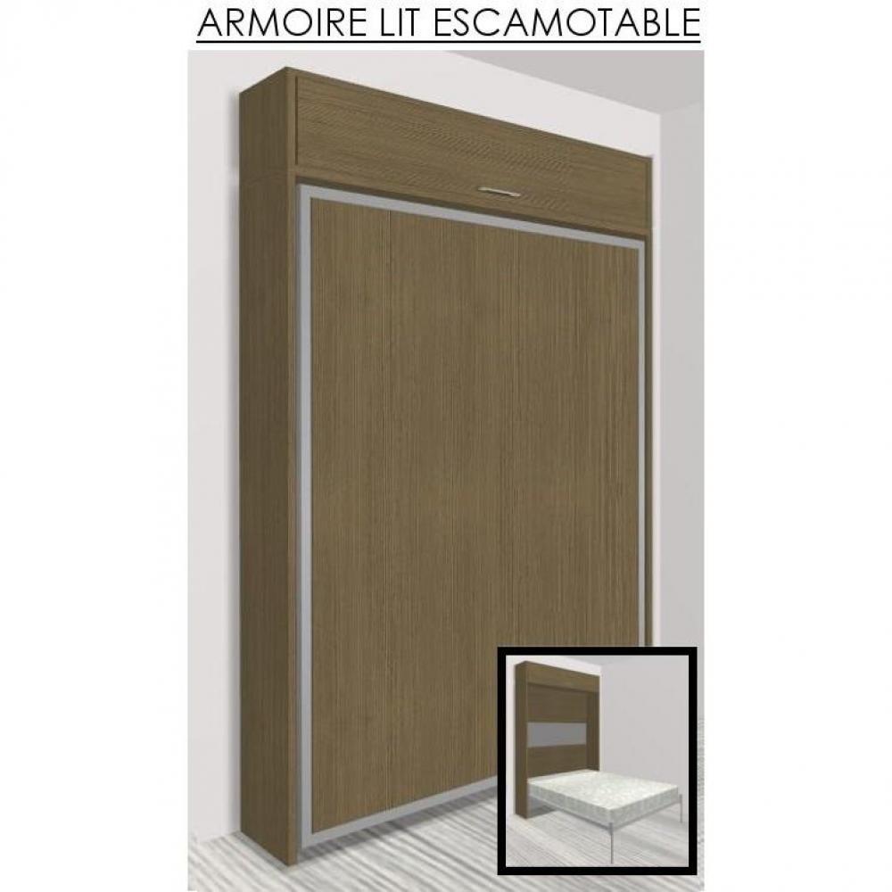 armoire lit escamotable eos ch ne taupe couchage 140. Black Bedroom Furniture Sets. Home Design Ideas