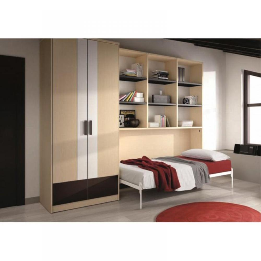 armoire lit 1 place armoires lits escamotables armoire lit transversale gaia avec rangements. Black Bedroom Furniture Sets. Home Design Ideas