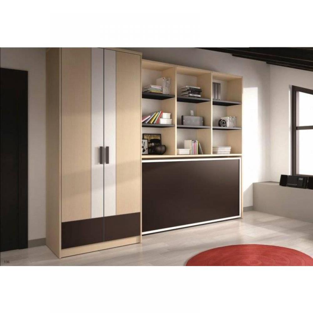 Armoire lit 1 place armoires lits escamotables armoire lit transversale gaia avec rangements - Armoire lit transversale ...