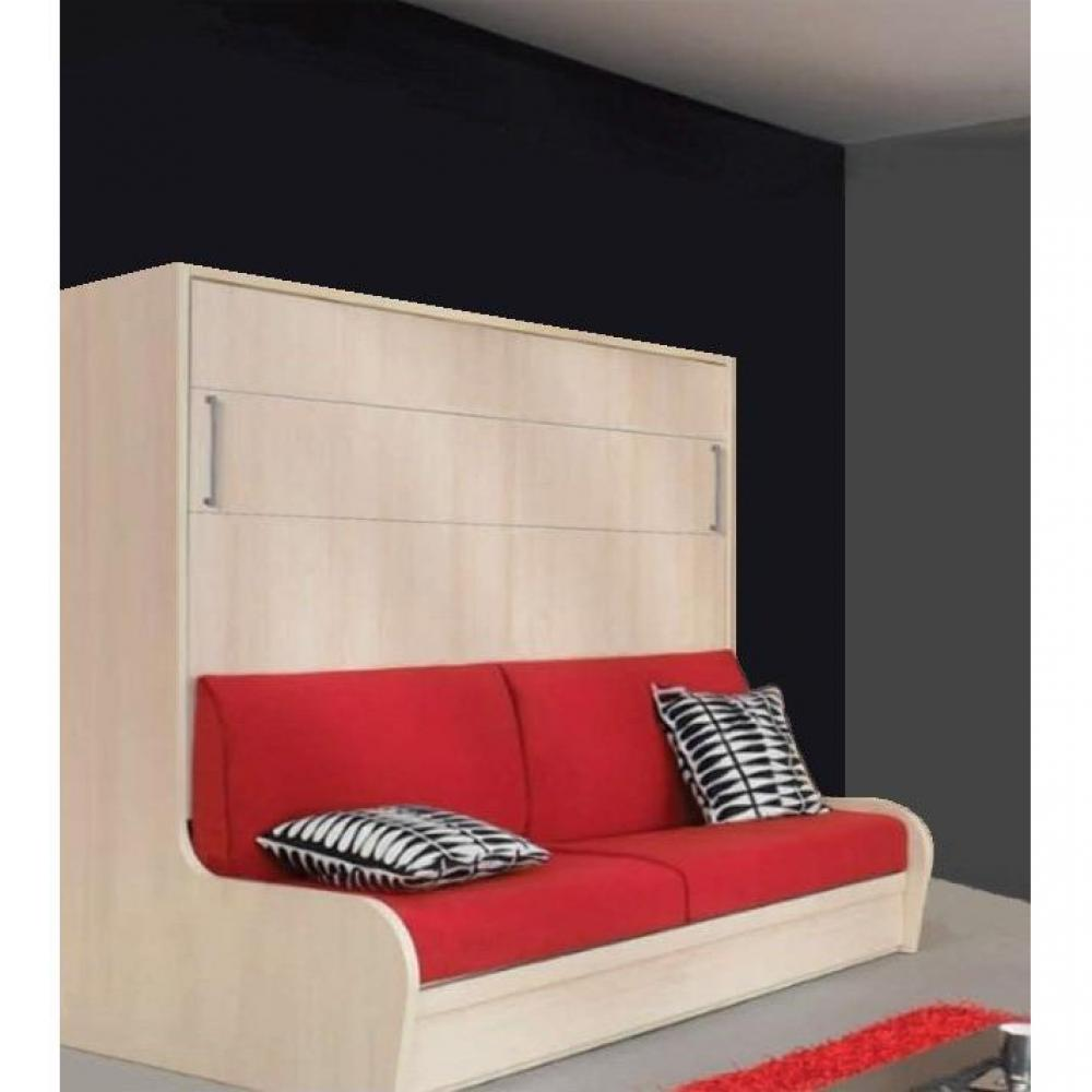 armoire lit transversal zurich autoporteur avec canap couchage 140cm. Black Bedroom Furniture Sets. Home Design Ideas
