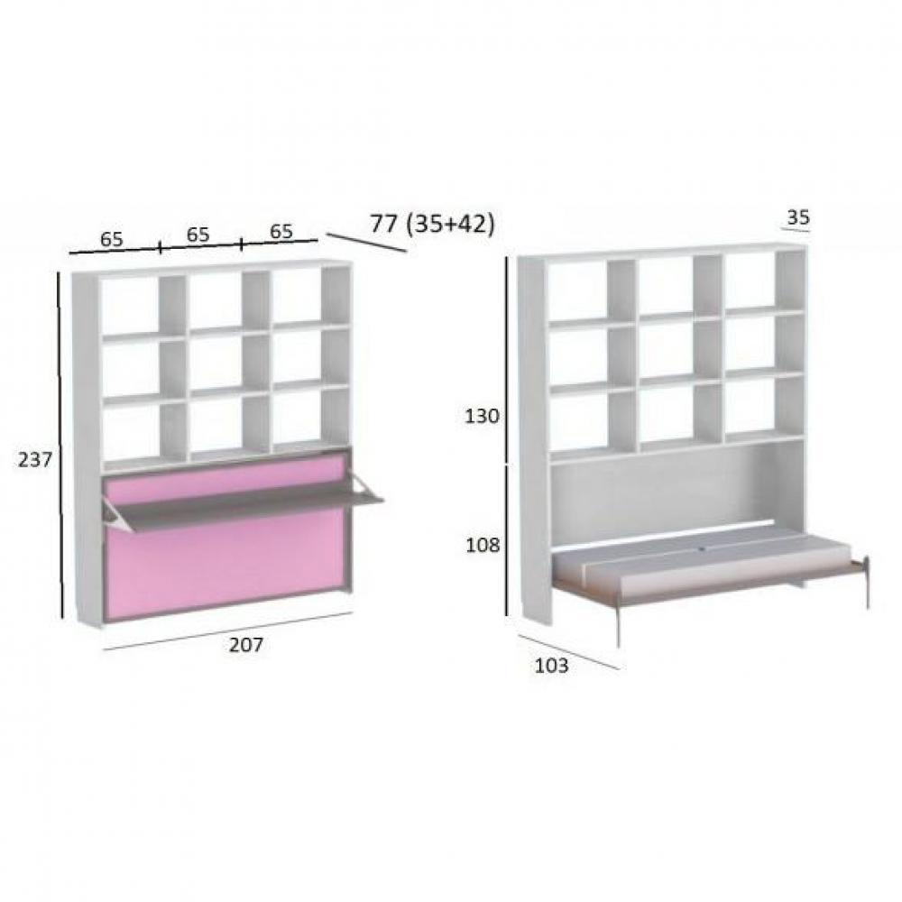 Armoire lit bureau armoires lits escamotables armoire lit transversale ares - Armoire bureau integre ...