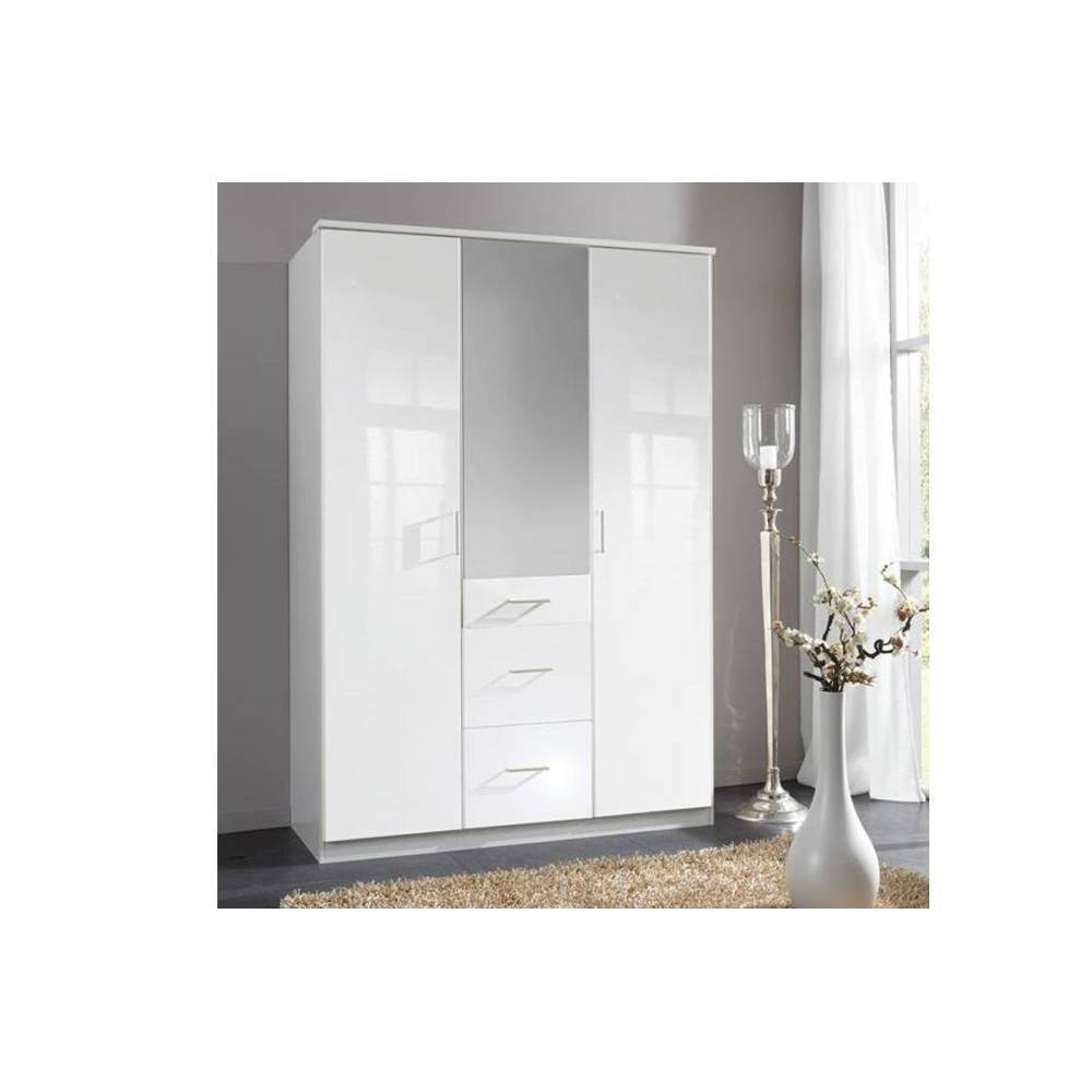 dressings et armoires meubles et rangements armoire penderie cooper blanche avec miroir 3. Black Bedroom Furniture Sets. Home Design Ideas