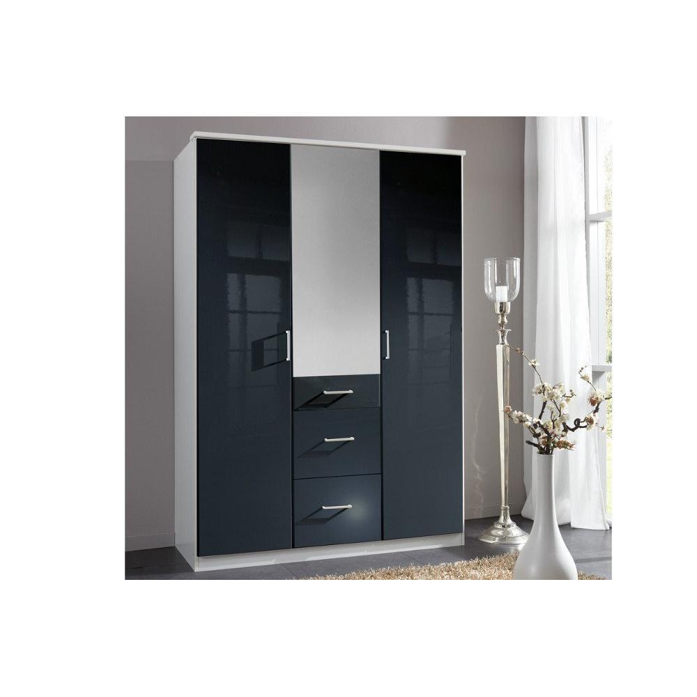 dressings et armoires meubles et rangements armoire penderie cooper noire avec miroir 3 portes. Black Bedroom Furniture Sets. Home Design Ideas