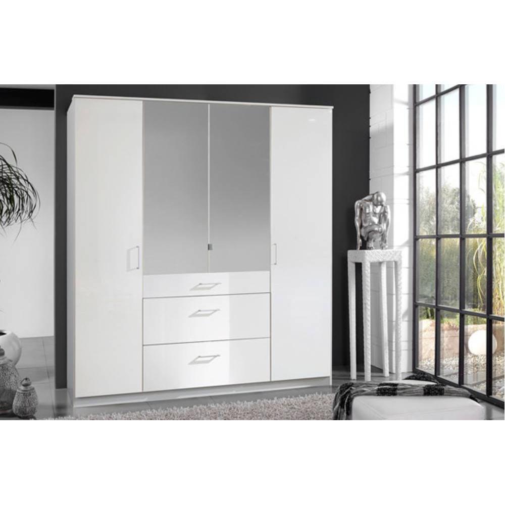 dressings et armoires meubles et rangements armoire penderie cooper blanche avec miroirs 4. Black Bedroom Furniture Sets. Home Design Ideas