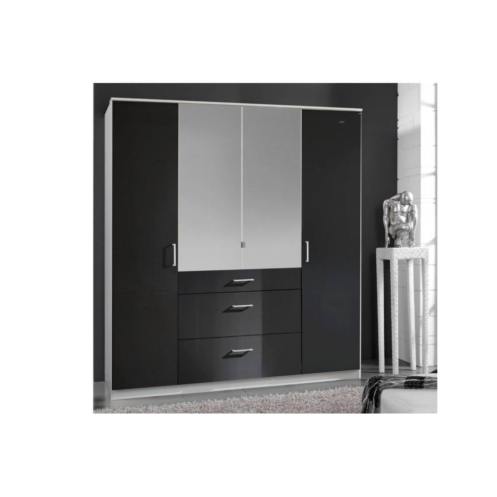 dressings et armoires meubles et rangements armoire penderie cooper noire avec miroirs 4. Black Bedroom Furniture Sets. Home Design Ideas