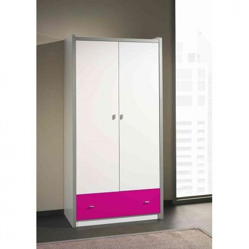 dressings et armoires chambre literie armoire dressing bonny blanche avec tiroir fuchsia. Black Bedroom Furniture Sets. Home Design Ideas