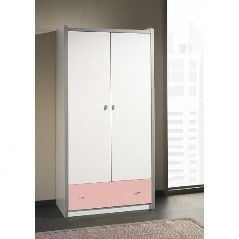 dressings et armoires chambre literie armoire dressing kyle blanche avec tiroir rose inside75. Black Bedroom Furniture Sets. Home Design Ideas