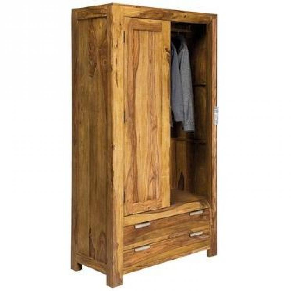 dressings et armoires meubles et rangements armoire penderie wood 2 portes 2 tiroirs inside75. Black Bedroom Furniture Sets. Home Design Ideas