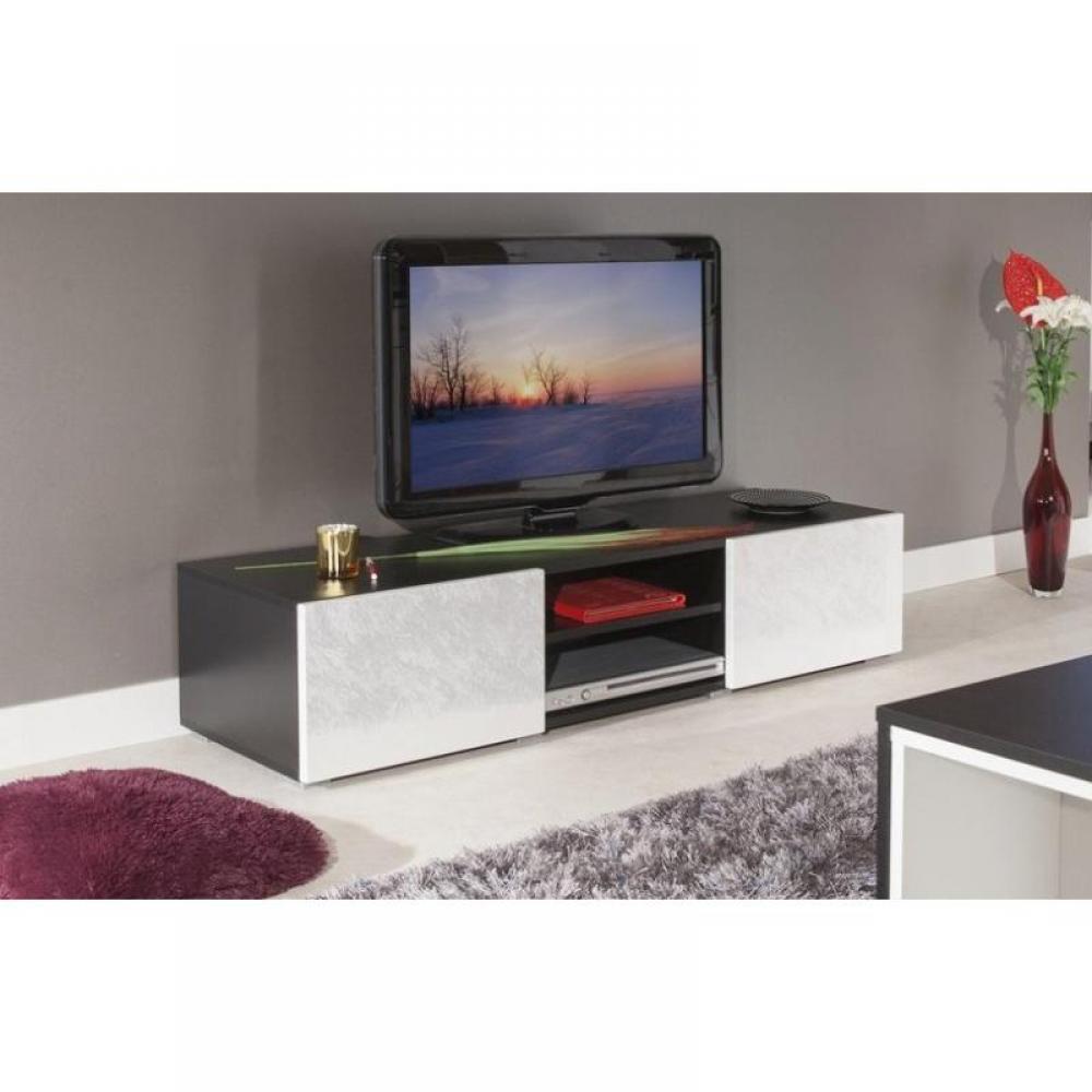 Meubles tv meubles et rangements atlantic meuble tv couleur blanc et noir - Meuble tv noir et blanc ...