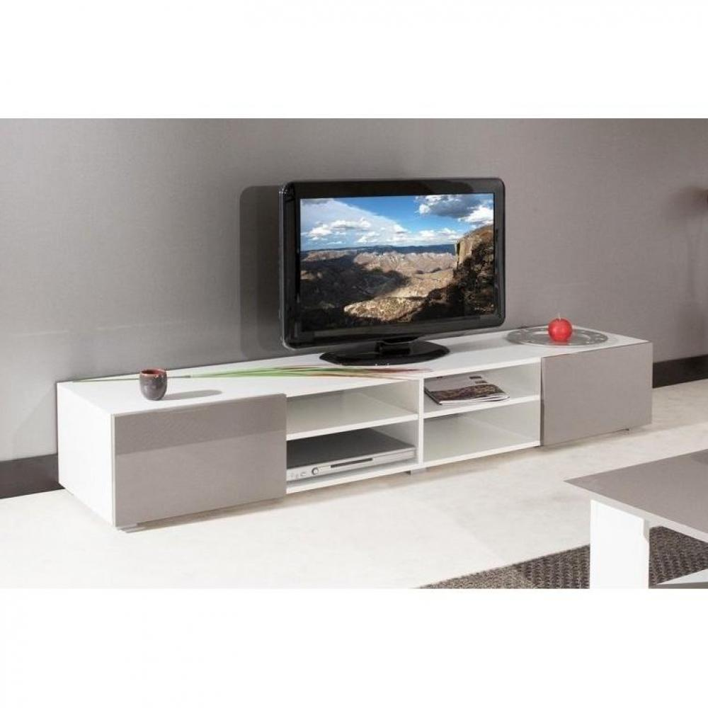 Meuble tv bas taupe for Meuble tv angle laque blanc