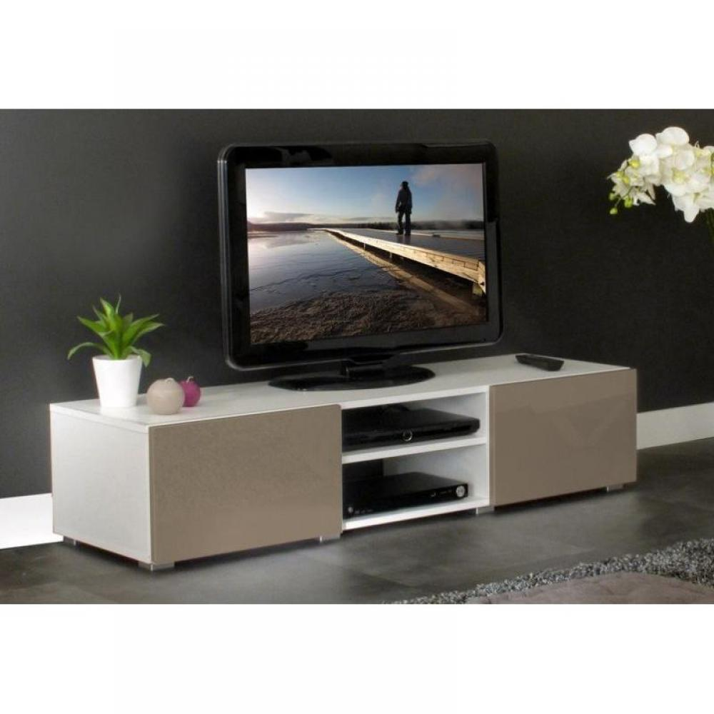 meubles tv meubles et rangements atlantic meuble tv structure blanche et portes laqu es taupe. Black Bedroom Furniture Sets. Home Design Ideas