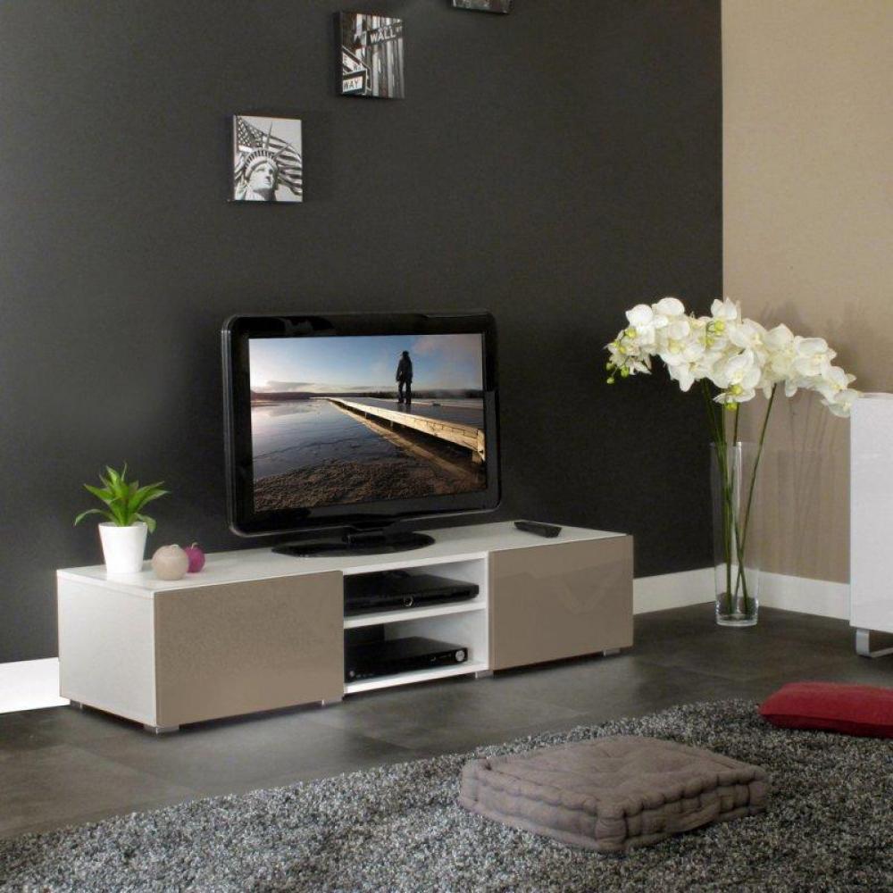 Meuble Tv Taupe Laque : Meuble Tv Structure Blanche Et Portes Laquées Taupe Brillant Moyen