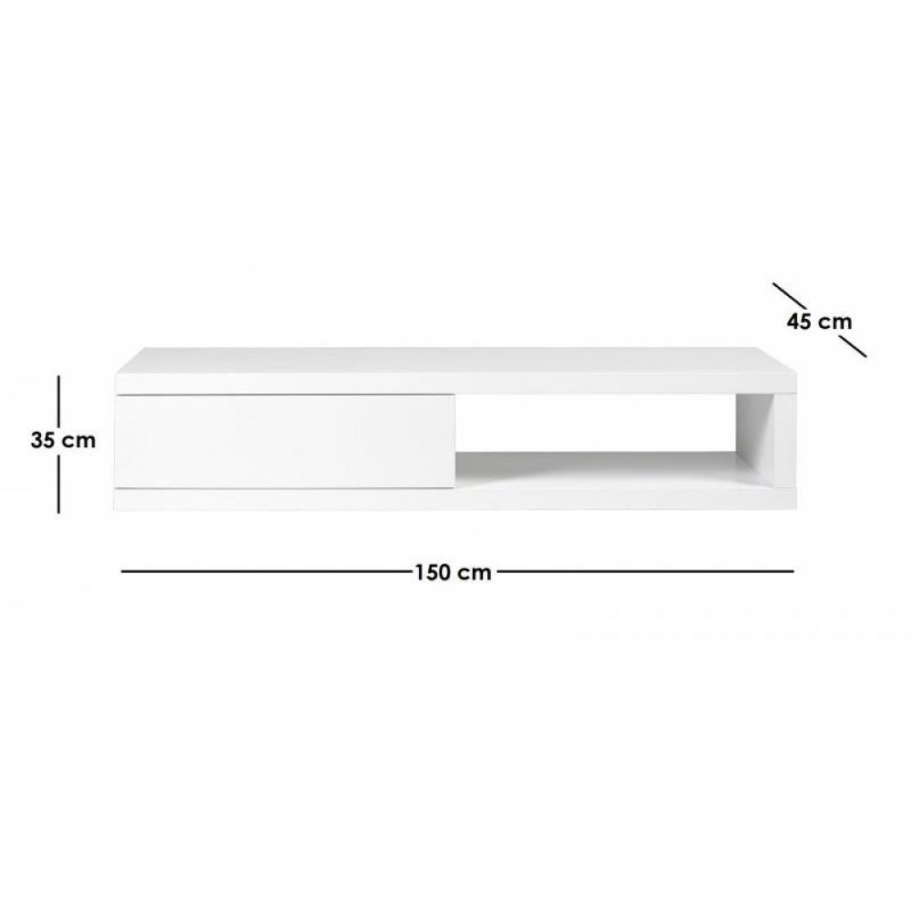 Meuble tv blanc 150 cm for Meuble tele laque blanc