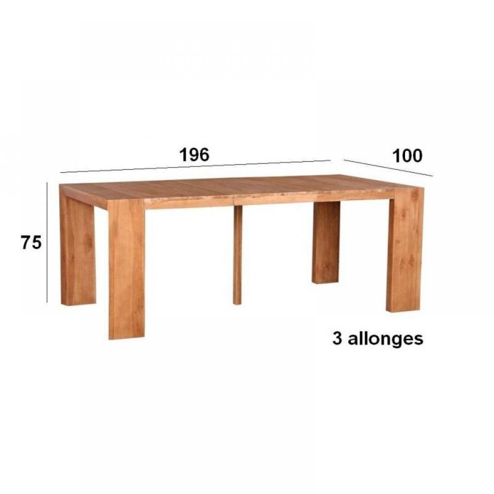 Consoles extensibles tables et chaises console table extensible authentique 3 allonges 196cm - Table bois massif ...