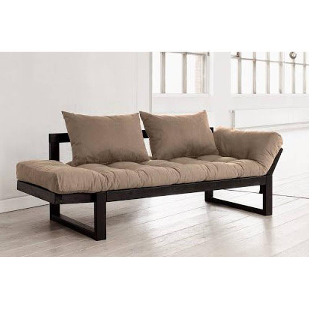 canap s futon canap s et convertibles banquette m ridienne noire futon taupe edge couchage 75. Black Bedroom Furniture Sets. Home Design Ideas