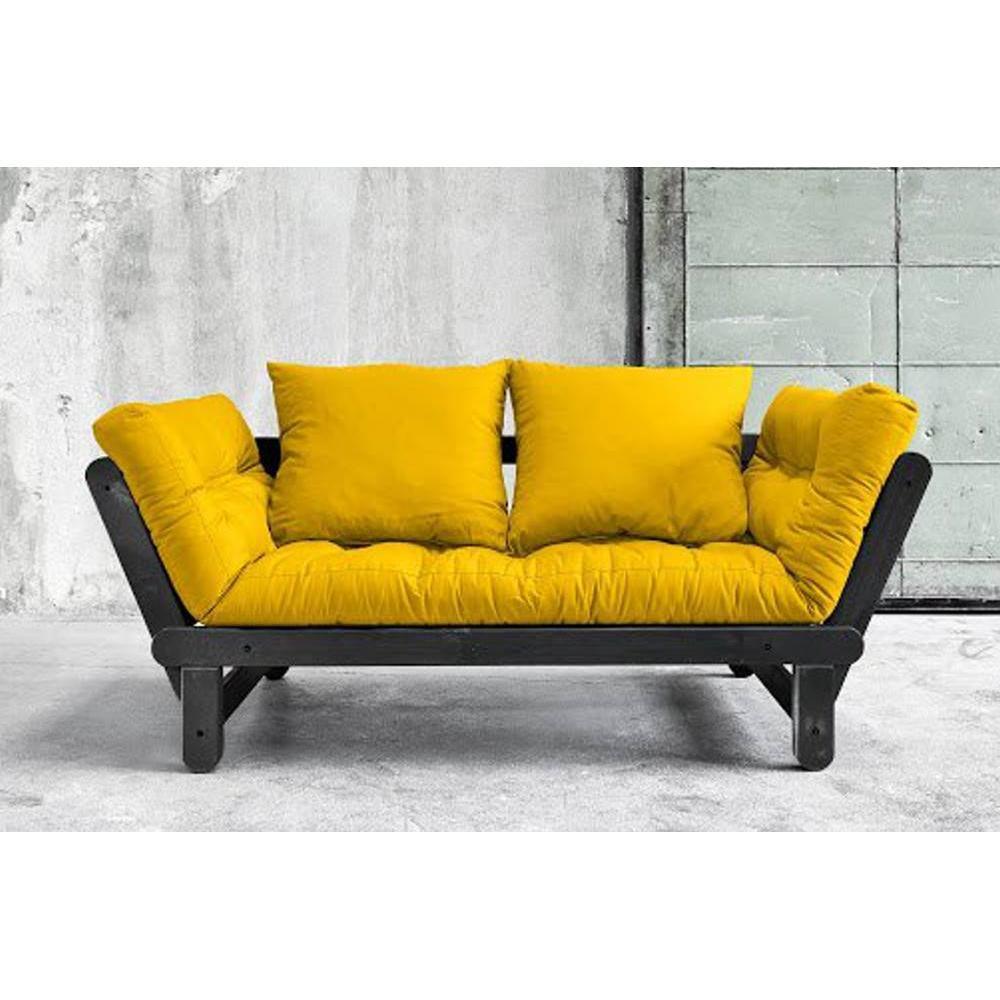 canap s futon canap s et convertibles banquette m ridienne noire convertible futon jaune beat. Black Bedroom Furniture Sets. Home Design Ideas