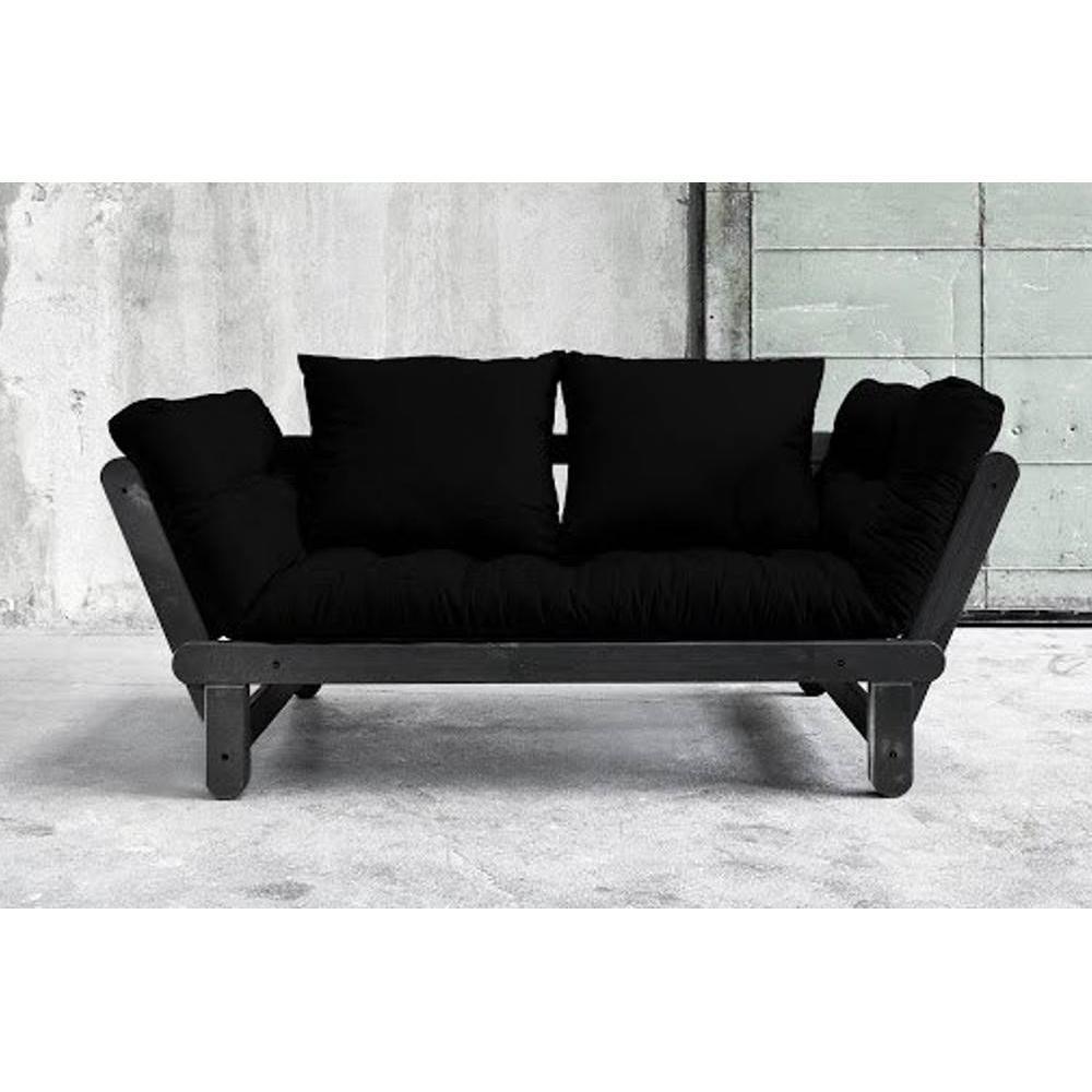 canap s futon canap s et convertibles banquette m ridienne noire convertible futon noir beat. Black Bedroom Furniture Sets. Home Design Ideas