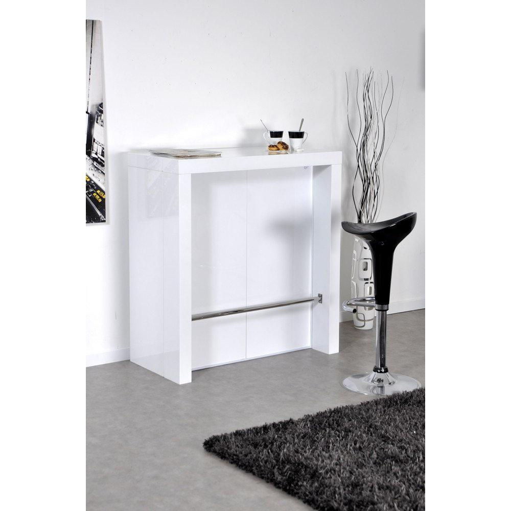 Bars tables et chaises extend bar blanc bar console for Table console haute extensible