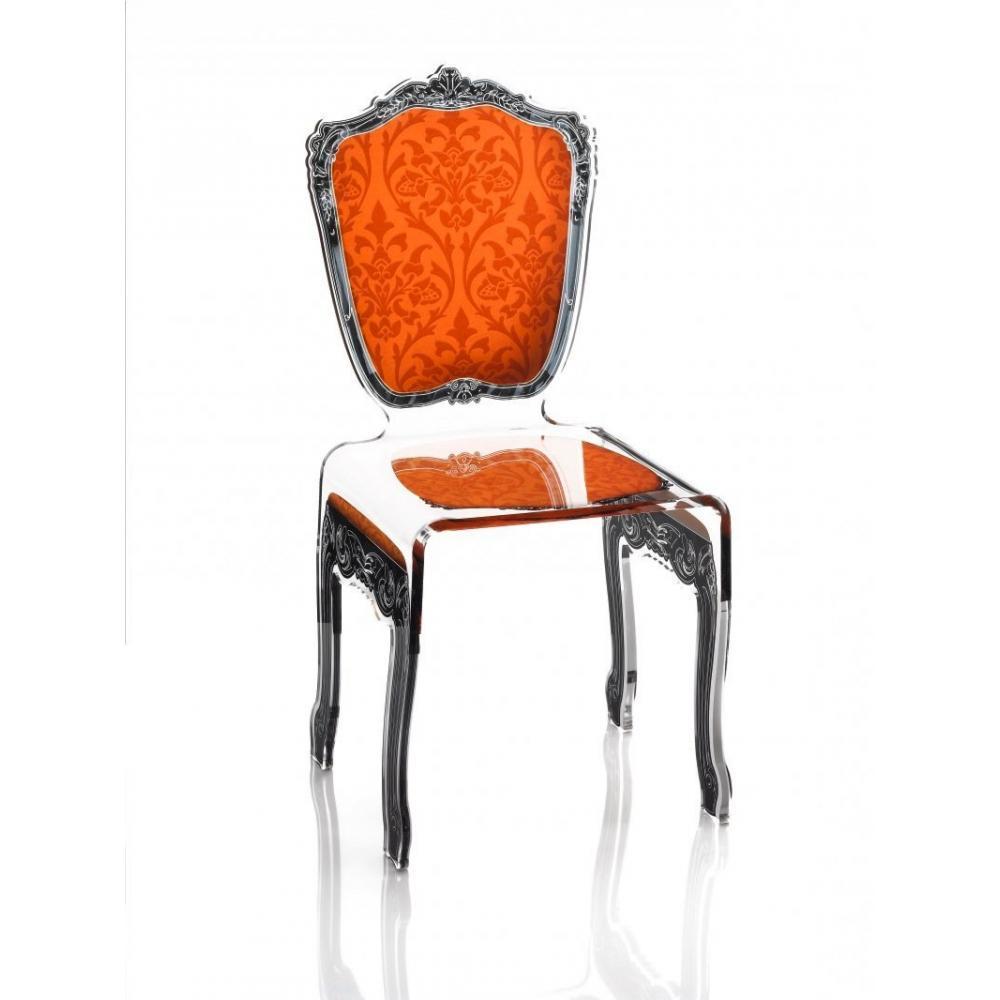 chaises meubles et rangements baroque chaise en plexi orange acrila design inside75. Black Bedroom Furniture Sets. Home Design Ideas
