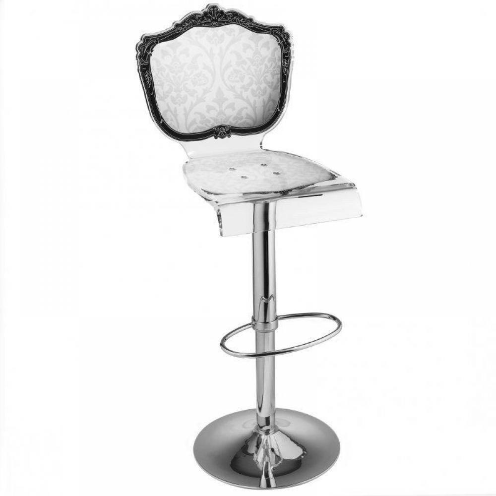 Tabouret chaise de bar baroque blanc plexiglass acrila - Tabouret de bar style baroque ...