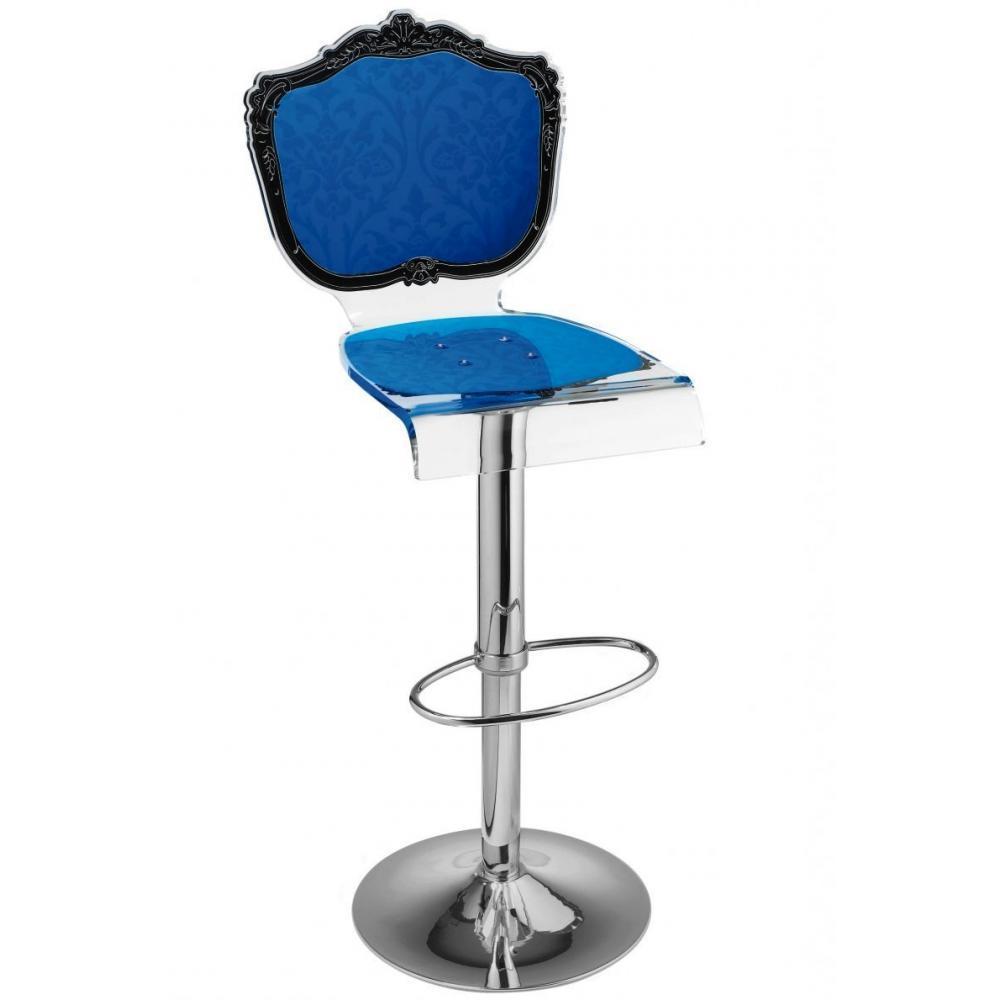 Tabouret Chaise De Bar Baroque Bleu Plexiglass Acrila