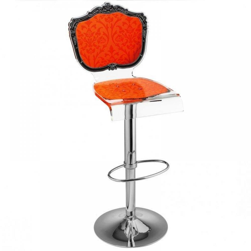 Tabouret chaise de bar baroque orange plexiglass acrila