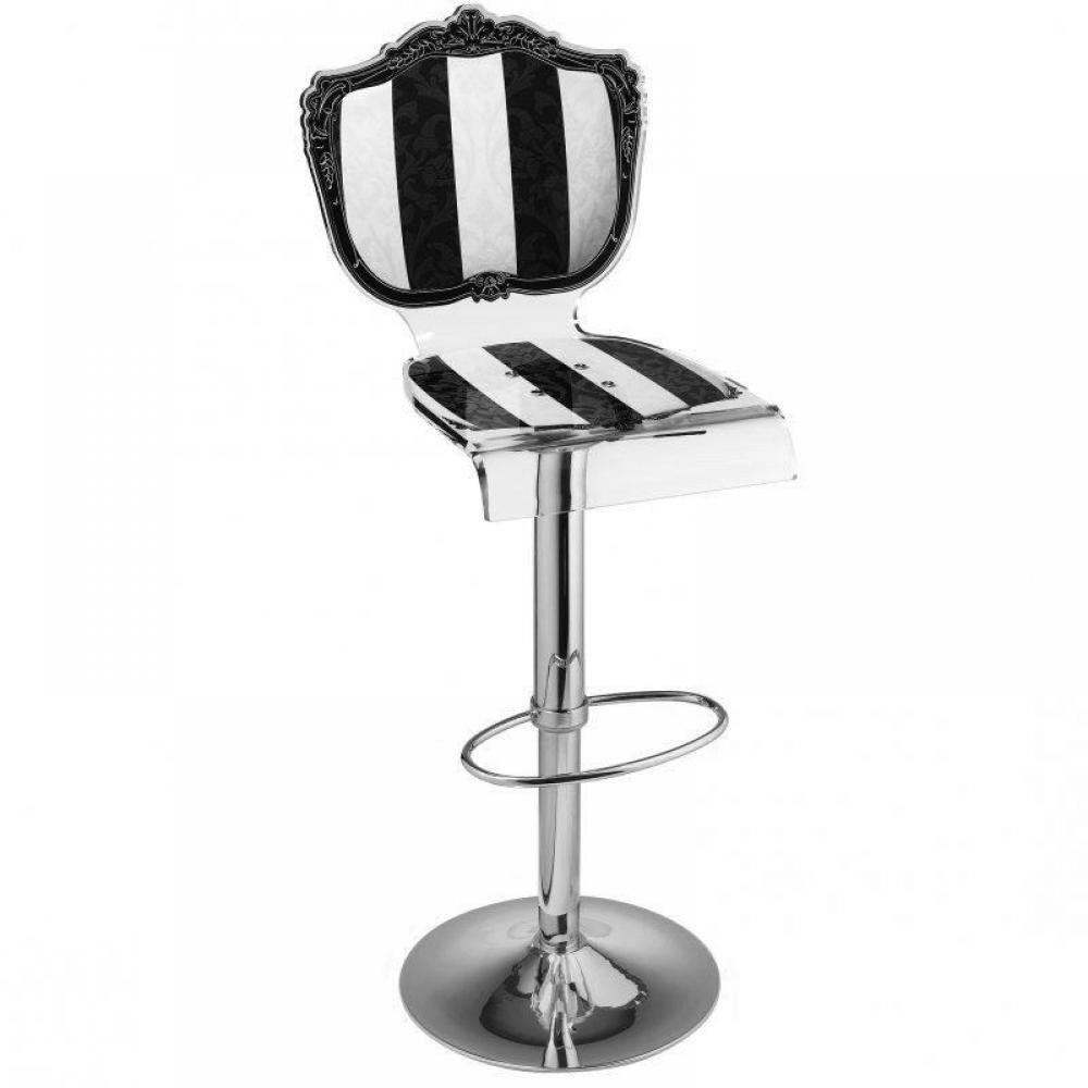 Tabouret chaise de bar baroque raye noir blanc plexiglass acrila - Tabouret baroque blanc ...