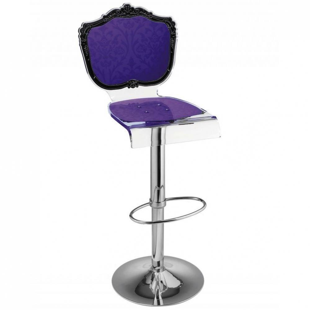 Tabouret chaise de bar baroque violet plexiglass acrila for Chaise de bar violet