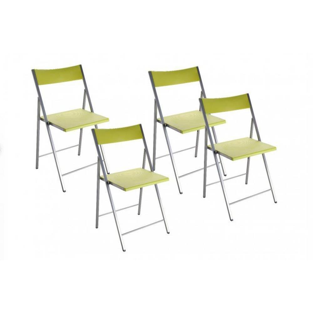 BELFORT Lot de 4 chaises pliantes vert anis