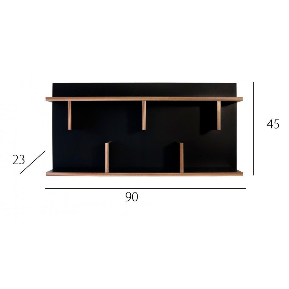 Biblioth ques tag res meubles et rangements etag re murale temahome bern noire et bois 90 cm - Etagere murale noire design ...