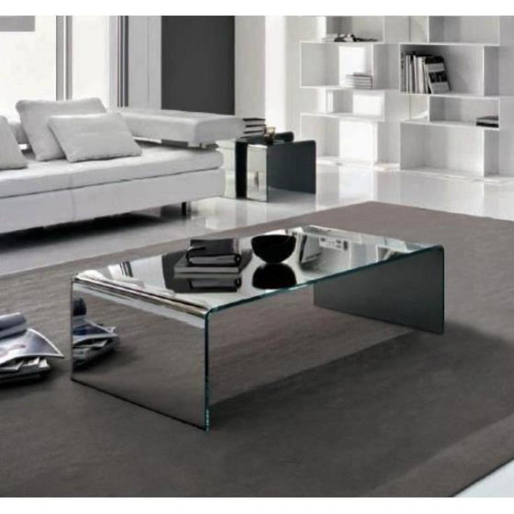 Tables basses tables et chaises table basse bridge en verre effet miroir - Table basse en verre habitat ...