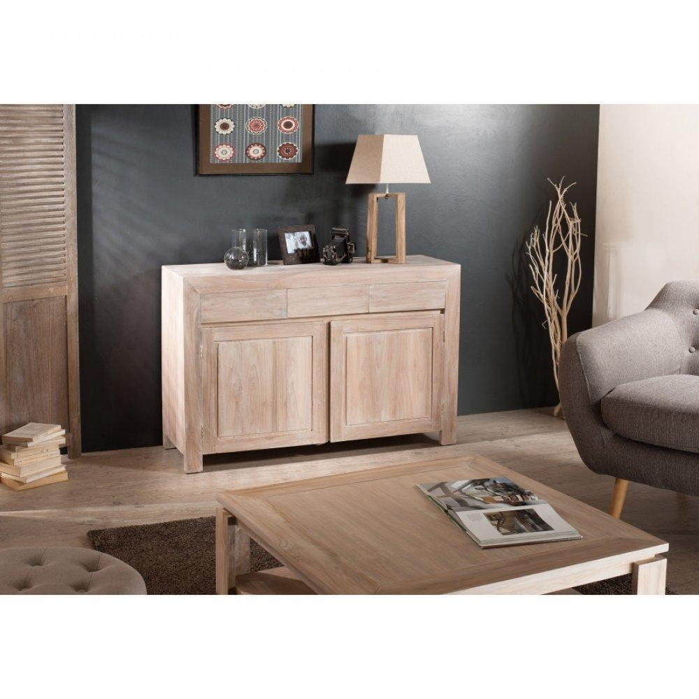 buffets meubles et rangements buffet bali 2 portes 3 tiroirs en teck blanchi style colonial. Black Bedroom Furniture Sets. Home Design Ideas