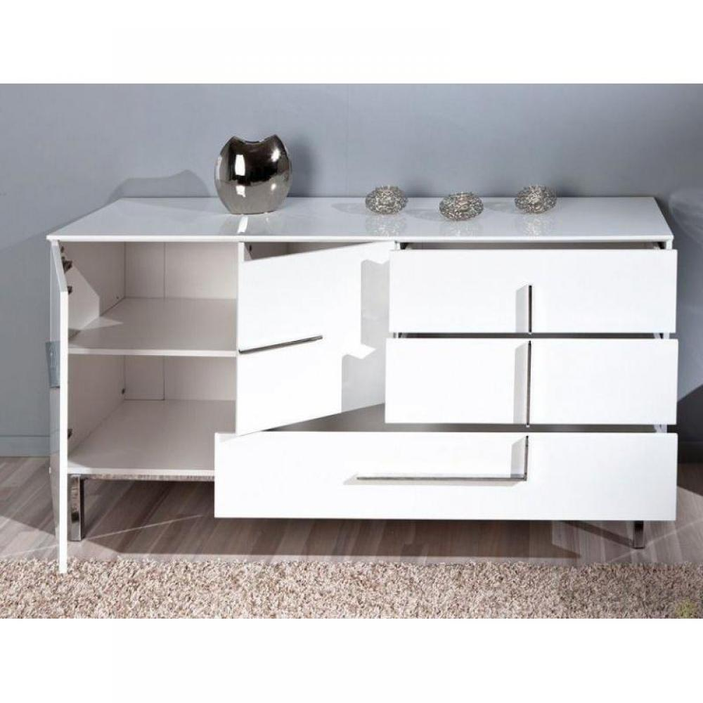 buffets meubles et rangements buffet bas design deltino blanc 2 portes et 3 tiroirs et. Black Bedroom Furniture Sets. Home Design Ideas